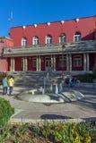 DIMITROVGRAD SERBIEN -16 APRIL 2016: Mitt av staden av Dimitrovgrad, Pirot region, Serbien arkivfoton