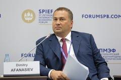 Dimitry Afanasiev. SAINT-PETERSBURG, RUSSIA - JUN 16, 2016: St. Petersburg International Economic Forum SPIEF-2016. Dimitry Afanasiev, Chairman, Co-Founding Stock Photos