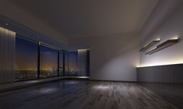 Dimly lit empty room facing urban skyline. Interior view of empty dimly lit room with counters, shelves and hardwood flooring and large windows facing city. 3d Royalty Free Stock Image