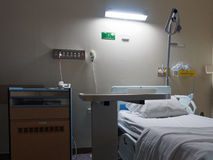 Dimly Lit Hospital Room. A dimly lit, gloomy, hospital room with bed ready to be occupied royalty free stock photos