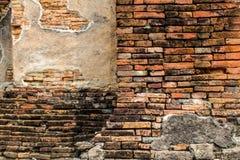 Dimly zaświecający stary ściana z cegieł tekstury blackground Obraz Stock