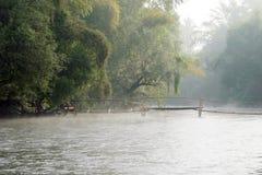 Dimma över kanalen och bron Royaltyfri Bild