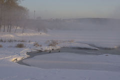 Dimma över stadsdammet i vinter Arkivfoto