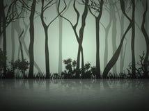 Dimma Forest Near Lake royaltyfri illustrationer