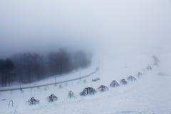 Dimma i en öde vinter parkerar Arkivbild