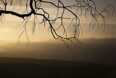 Dimma och moln under solnedgång över blick på bergen arkivfoto