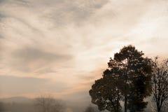 Dimma som täcker landskapet på solnedgången Arkivbild