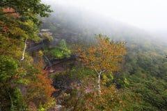 Dimma upptill av Kaaterskill nedgångar i Catskill New York royaltyfri bild