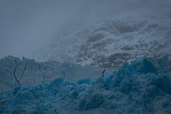 Dimmig closeup av blå is på en glaciär royaltyfria foton