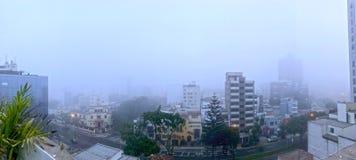 Dimmig dag i Bajada Armendariz, en vintermorgon med intensiv dimma i Miraflores arkivfoton