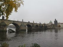 Dimmig dag vid den charles bron royaltyfri foto