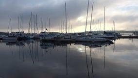 Dimmig juni morgon i hamnen av Lappeenranta finland stock video