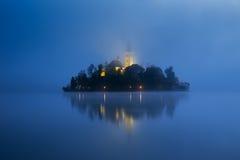 Dimmig morgon i den blödde sjön Arkivbild
