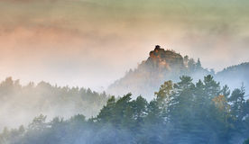 Dimmig morgon i landskapet Arkivbild