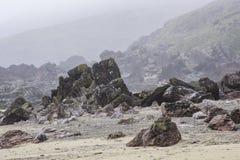 Dimmig morgon på den Pembrokeshire stranden, södra Wales, UK Arkivbilder