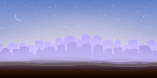 dimmig morgonpanorama för stad royaltyfri illustrationer