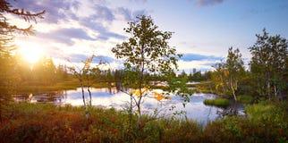 Dimmig panorama för sjö för landskapsommarmorgon för tryck Fotografering för Bildbyråer