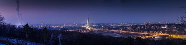Dimmig vinternatt över en stad Royaltyfri Foto
