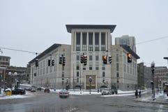 Dimmiga byggnader efter vinter stormar i Boston, USA på December 11, 2016 Royaltyfri Bild