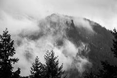 Dimmiga svartvita klippor i den Columbia River klyftan Royaltyfria Bilder