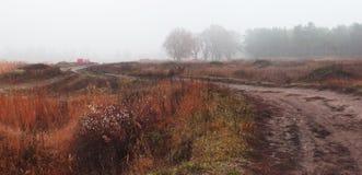 Dimmigt landskap för höst med byvägen royaltyfria bilder