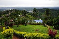 Dimmigt landskap i Buena Vista, Quindio royaltyfri fotografi