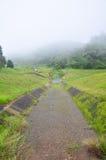 Dimmigt och regna i morgon på den stora behållaren för A i Pang Ung Arkivfoton