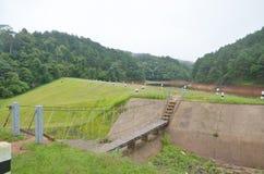 Dimmigt och regna i morgon på Pang Ung i Mae Hong Son Royaltyfria Foton