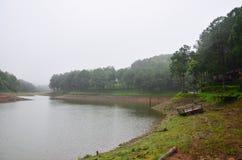 Dimmigt och regna i morgon på Pang Ung i Mae Hong Son Royaltyfria Bilder
