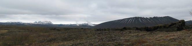 Dimmuborgir, area islandese dei giacimenti di lava insolitamente a forma di Immagine Stock Libera da Diritti