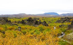 Dimmuborgir area with various volcanic caves snd Rocks. Near Lake Myvatn Northeast Iceland Stock Images