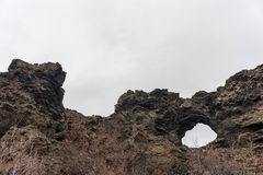 Dimmuborgir. Large area of unusually shaped lava fields east of Iceland Royalty Free Stock Image