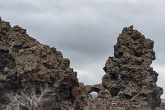Dimmuborgir. Large area of unusually shaped lava fields east of Iceland. Stock Images