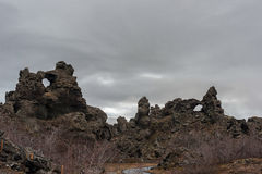 Dimmuborgir. Large area of unusually shaped lava fields east of Iceland Stock Images
