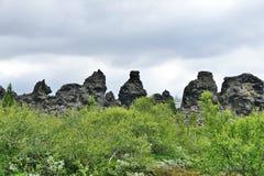 Dimmuborgir Lava Fields at Lake Myvatn, Iceland. Lava statues at Dimmuborgir Lava Fields, Lake Myvatn, Iceland royalty free stock photos