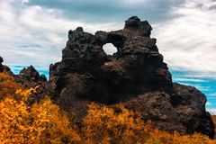Dimmuborgir Lava Fields Near Lake Myvatn In The North Of Iceland Royalty Free Stock Images