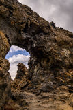 Dimmuborgir rock formation in northern part of Iceland. Dimmuborgir rock formation in Lake Myvatn area of north Iceland. In Icelandic folklore, Dimmuborgir is Stock Image