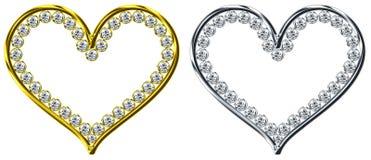 Dimond in hart stock afbeelding