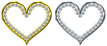 Dimond in heart Stock Image