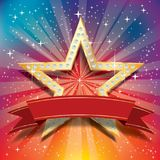 Dimond star burst. Vector golden star with diamonds and blank red banner tape on starburst in rainbow colors Royalty Free Stock Photography