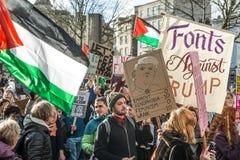 Dimostrante di Trump in Bristol England Fotografie Stock