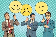 Dimostranti con la sorpresa di tristezza di gioia di Emoji dei cartelli royalty illustrazione gratis