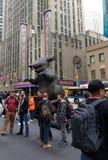 Dimostranti, ratto gonfiabile del sindacato, NYC, NY, U.S.A. Fotografie Stock Libere da Diritti