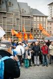 Dimostranti riuniti a Kleber Square che protesta il pla del governo Immagine Stock