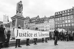 Dimostranti riuniti a Kleber Square che protesta il pla del governo Fotografie Stock