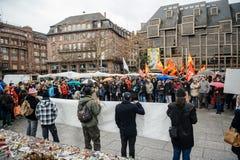 Dimostranti riuniti a Kleber Square che protesta il pla del governo Immagini Stock Libere da Diritti