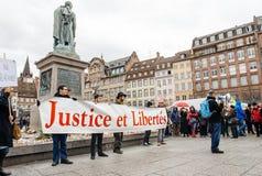 Dimostranti riuniti a Kleber Square che protesta il pla del governo Immagine Stock Libera da Diritti