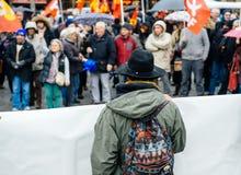 Dimostranti riuniti a Kleber Square che protesta il pla del governo Immagini Stock