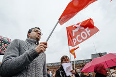 Dimostranti riuniti a Kleber Square che protesta il pla del governo Fotografia Stock