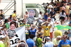 Dimostrazione in accusa di sostegno di Dilma Rousseff in Copacabana Immagine Stock Libera da Diritti
